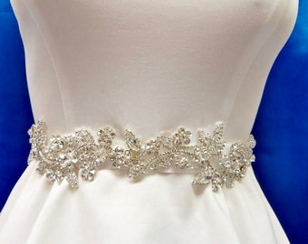 Rhinestone Bridal Sash, Wedding Gown Accessory,Bridal Crystal Sash,  Bridal Gown Sash, Bridal Gown Belt, Rhinestone  Wedding Sash
