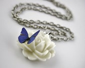 White Rose Necklace - Rose Jewelry Gift For Her - Rose Pendant - Sterling Silver Butterfly Necklace Resin Flower Necklace Gift For Gardener
