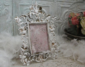 Vintage Scrolly Brass Picture Frame Upcycled Ornate Brass Chalk Paint Frame Shabby Cottage Chic