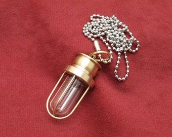 Steampunk jewelry, nautical style stash necklace, lathe turned brass