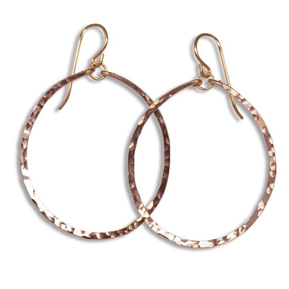 Rose Gold Hoop Earrings - Medium Round Rose Gold Filled Hammered Hoops - Hammered Gold Hoops - Big Gold Hoops - Hammered Hoop Earrings