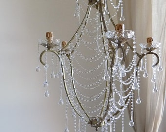 Birdcage antiqued gold crystal chandelier, clear Murano glass clear crystals, drops and chains, shabby chic style