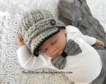 Newborn boy hat baby boy newsboy hat coming home outfit Bowtie Childrens Photo prop hat gray tweed baby boy clothes crochet newsboy hat