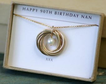 90th birthday gift for mom, 9th anniversary gift, June birthstone necklace pearl, gift for nan - Lilia