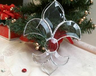 stained glass Clear beveled FLEUR-DE-LIS suncatcher or ornament