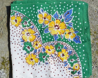 Vintage 1930 handkerchief floral green white yellow blue