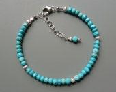 Gemstone Stacking Bracelet, Turquoise Beaded Bracelet, Gemstone Layering Bracelet, Layering Jewelry, Silver Stacking Bracelet, Gift For Her