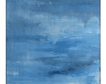 Abstract Seascape Original Painting on Canvas Contemporary/Modern Painting  - 36x36 - Navy, Baby blue, and more