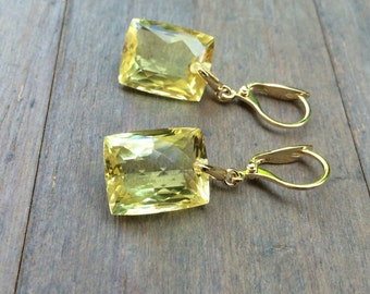 OOAK yellow Citrine Quartz Earrings.  Gold leverbacks.