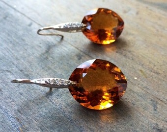 Madeira Citrine Earrings Pave Sterling Silver. OOAK jewelry