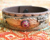 Feather Bracelet -  Enlightened - leather cuff bracelet Boho chic, soldered bohemian jewelry, ruby rhinestones, gypsy jewelry, coachella