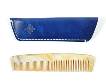 Handmade Double Tooth Horn Comb Blue Veg Tan Leather Sleeve Case
