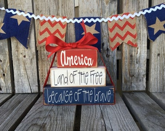 america land of the free brave americana wood block set stars stripes red white and blue handmade gift summer 4th of July