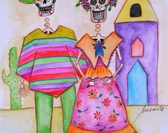 Folk Art Diego & Frida  Calavera Sugar Skull Dia de los Muertos Mexican Original Painting