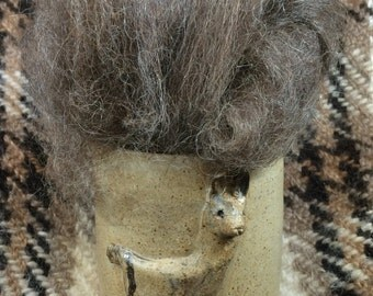 1 oz.  llama roving - Brown heather