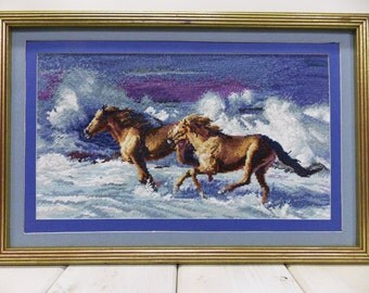 Vintage Framed Needlepoint--- Coastal Scene of Wild Horses--- Ponies Galloping in Oceanfront Waves