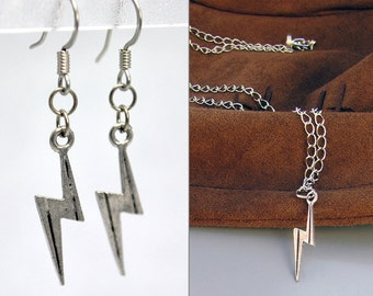 Silver Lightning Bolt Jewelry Set - Lightning Bolt Earrings & Lightning Bolt Necklace. Boy Wizard Jewelry Set. Fallout Jewelry. Ms Marvel.