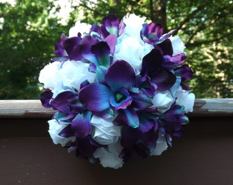 Bridesmaids or maid of honor bouquet, blue orchids and roses, Choose your own orchid