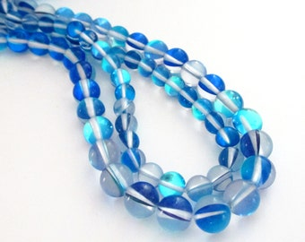 """Blue Cobalt Moonstone - Clear Blue Smooth Round Beads - Glass Round Drilled Beads - Glow Iridescent - 8mm - 16"""" Strand - Diy Jewelry Making"""
