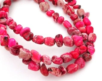 "Pink Imperial Jasper Beads - Jasper Nugget Beads - Natural Gemstone Pebble Nugget - Center Drilled - 16"" Strand - 8mm - DIY Jewelry Making"