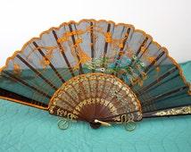 Vintage 50s Hand Held Fan Black Nylon w Embroidered Peacock Plastic Tortoise Shell Holder