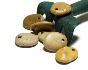 Top Drilled Beach Stone Jewelry Beads - River Rock Stones Pendant Charms Focal Bead - Beach Stones Wholesale Jewelry - Sailor