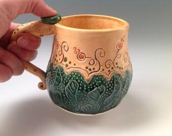 Mug/pottery mug/flowered mug/coffee mug/ceramic mug/green mug
