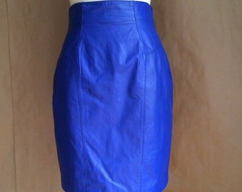 vintage 80's / blue leather pencil skirt /  1980's / fitted skirt / punk / indie new wave / retro minimalism