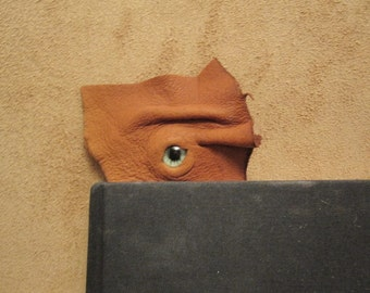 Grichels leather bookmark - caramel brown with green carousel horse eye