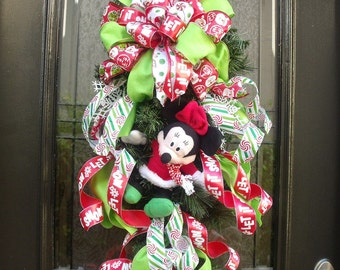 Minnie Christmas Wreath, Christmas Swag, Kids Christmas Wreath, Wreaths For The Door, Front Door Wreath