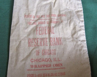 Vintage Bank Money Bag Sack Federal Reserve Bank Chicago Wrapped Coin