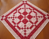 Quilted Table Topper, Handmade Table Topper, Patchwork Table Top Quilt, Valentine, Pieced Table Topper, Red Table Topper, Table Toppers