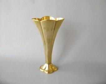 Vintage brass Vase, Trumpet, Fan, flower vase