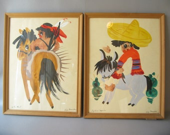 Vintage Fernekes Watercolor, Mexican theme, set,  who me, Pepito, midcentury