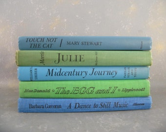 Vintage Display Books, Stack, Blue Green Aqua, Instant Collection, Props, Home Decor Beach