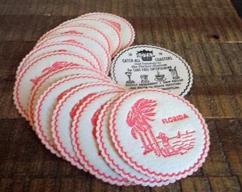 Set of 13 Vintage Royal Paper Co Disposable Florida Coasters