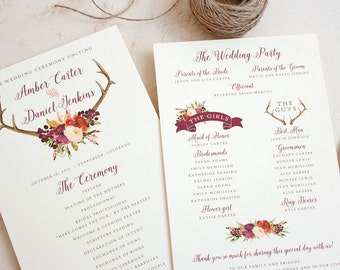 Boho Wedding Program with Antler and Wine Floral Design - Rustic Wedding Programs - Antler Ceremony Programs - Fall wedding program