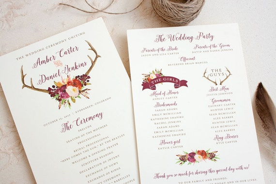 boho wedding program with antler and wine floral design rustic