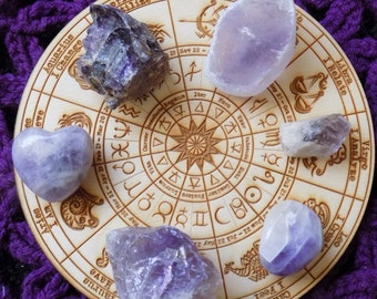 Amethyst Lovers Crystal Bundle Seer Stone Raw Ametrine Chevron Heart Phantom Point tumbled Crystals Stones Grid