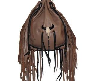 Drawstring leather bag resin skull medicine pouch boho hippie mountain woman pow wow cross body