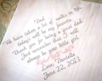 Gift for Dad Wedding Gift From Daughter Handkerchief Embroidered Wedding Handkerchief Father of the Bride Personalized Father Gift Wedding