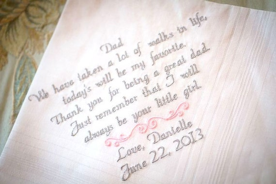Father Daughter Wedding Gifts: Gift For Dad Wedding Gift From Daughter Handkerchief