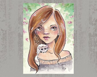 Rachel and Fluffy - Original ACEO, Copic marker drawing