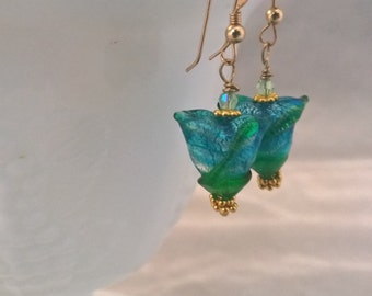 Venetian Glass Blue Tulip Earrings