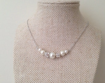 Pearl and Rhinestone Necklaces, Bridesmaid Pearl Necklaces, Graduated Bridesmaid Gifts