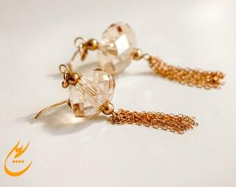Gold Tassel Earrings, Golden Shadow Swarovski Crystal Earrings with Tassel Gold Chain, Long Gold Filled Earrings, Statement Gold Earrings