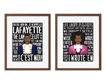 """Hamilton musical quote print set - Marquis de Lafayette and Thomas Jefferson - """"Aaron Burr, Sir""""/""""Cabinet Battle #1"""""""
