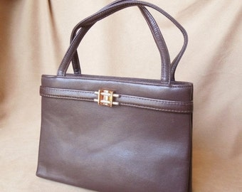 END of SUMMER SALE Chic Classic... Vintage 60's Brown Handbag, Structured, Top Handle, Mini Bag, 50's Rockabilly, Mad Men