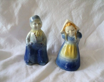Vintage Dutch Boy and Girl  Salt and Pepper Shakers Ceramic Delft Blue