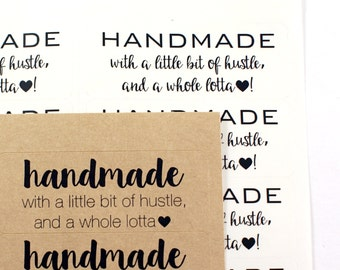 Shop Exclusive - HANDMADE with a little bit of hustle, and a whole lotta heart - 2 5/8 x 1 labels